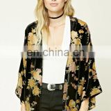 Beautiful design floral print three quarter length sleeve contemporary velvet kimono CK009