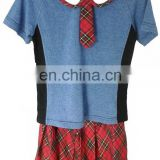Girl's 2pcs set traditional school uniform with tie top + Plaid Skirt red color for primary and middle school summer season