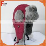 Wholesale Trapper Hat Gunuine Rabbit Skin with Waterproof Cloth Shell Snow Winer Hat Earflap Hat