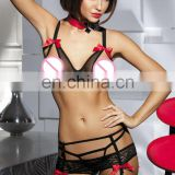 Beauty love sexy underwear extremely erotic open cup mesh bra and lace garter set