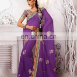 Fancy Floral Designer Traditional Border Designes Saree Chiffon Function Wear Sarees R3902