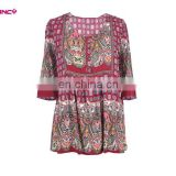 Aged Woman Square Neckline Ethnic Paisley Print Border Blouse from GuangZhou