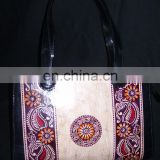 BATIK PRINT LEATHER TOTE BAG