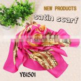 Women's Satin Fashion Scarf, Good Texture, Printed Hijab, Polyester square Scarf made in factory hot sell hijab new style