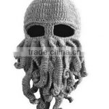 2014 Handmade Knitted Crochet Beard Hat Bicycle Mask Cap Octopus Cool Black SP055