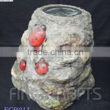 Polyresin ladybug solar garden decoration LED pilot lamp
