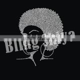 Iron on afro girl motif hotfix rhinestone heat transfer for shirts                                                                                                         Supplier's Choice