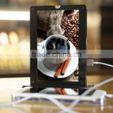 Acrylic menu holder double-side advertising with mobile phone charger for restaurant and cafe