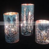 Flameless silver mercury glass transpaents led pillar candles with timer
