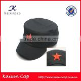 wholesale blank colored flat top custom embroidered military army style red star cap and hat