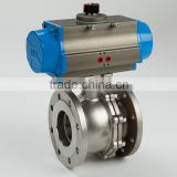 Pneumatic type two-piece ball valve ANSI-150LB flange end with direct mounting pad