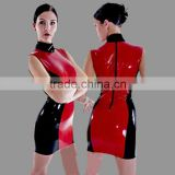 adult red cheongsam women tights Faux Leather PU Wet Look dress catsuit sex products Exotic underwear