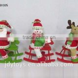 "12"" Christmas santa snowman reindeer with wooden horse"