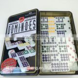 Professional High Quality Low MOQ 55pcs Double 9 Dominoes Set Color Dots with Custom Logo in Tin Iron Box
