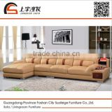 Suofeige Modern solid wood frame genuine leather sofa set design for living room furniture