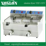 Counter top 2 tank 2 basket electric deep fryer with oil faucet and CE approval fryer machine