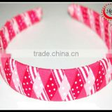 Valentine's Day Bubblegum Bliss Woven Headband hair band braided with grosgrain ribbon