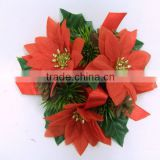 Christmas Flowers Candle Ring Artificial Red Poinsettia