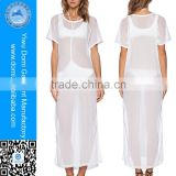 White women beach party wear dress transparent sheer nude bikini beach wear