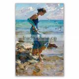 Handmade Impressionist beautiful sexy girl on beach scenery oil painting on canvas