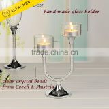 Crystal Beads U Shape Centerpiece Tea Light Candle Holder