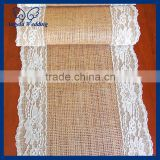 RU001C New hot beautiful wedding hessian real burlap and lace table runners