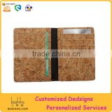 BOSHIHO Eco Friendly Material Cork Leather Fabric natural Cork Card Holder