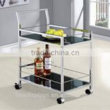Coaster Serving Cart, Chrome and Black Glass | The Casters Include Stoppers - Glass, Metal(SC-B-0242)
