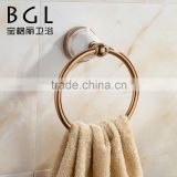simple modern design zinc alloy ceramic rose gold bathroom accessory set round towel ring