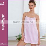 2016 New Pink Striped Suspender Skirt Sleepwear Charming Women's Robes Sexy pink Lace Lingerie Night Gown Puls Size