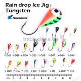 different types wholesale rain drop tungsten ice fishing jigs