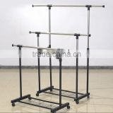Double Adjustable Telescopic Rolling Clothing Rack With Shoes Storage shelf