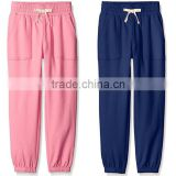 2017 Wholesale Children's Boutique Clothing New Fashion Pants Design 100% Cotton Plain Blank French Terry Sweatpant For Girls