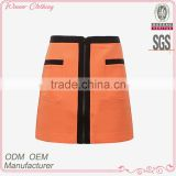 latest design front zipper design A-line office uniform skirts 2015 high quality ladies short skirt