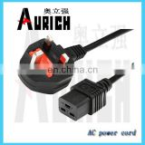 BS certification power cord 250v 10a generator plug and socket extension cord UK 240v power lead cable assembly cord plug top