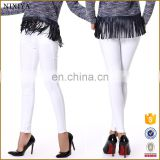 10s Twill Spandex Casual White Long Leggings Pants