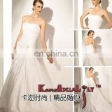 EB507 Ivory wedding dress simple but elegant exquisite ruffles bridal dress strapless taffeta material wedding gowns