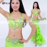 Transparent bead sexy multy color stage ballroom bellydance costume set