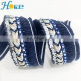 hit159 3cm New and hotselling sequin rhinestone band woven fringe trim for clothing and shoes