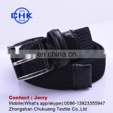Top quality factory price no punch elastic true leather knitted men's belt