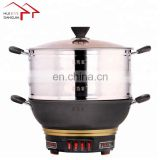 Four levels Multi-functional cast iron electric skillet Two Layers Electric Steamer Cooking Pot in good health