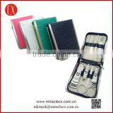 PU 8pcs metal frame zipper bag wave convex texture manicure set nail clipper set                                                                         Quality Choice