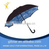 High Quality Solid Rod Pongee Fiberglass Promotional Straight Fashion auto Open windproof Bulk Umbrella