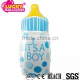 Customiezed Best China quality durable pink and blue baby bottle shape mylar balloon