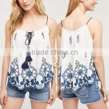 Ladies Tops Latest Swing Tank Top Design Fashion Embroidered Tops for Women 2016 HSt7537