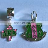 in stock! wholesale pink and green AKA logo badge charm pendant for sorority jewelry making 2016