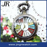 antique pocket watch necklace colorful big face watches vintage alloy pocket watch with lid