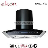60cm black SUS Baffle Filter Curved Glass Chimney Hood
