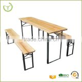 Sturdy frame heavy-duty Quick set-up outdoor wooden camping/pinic/BBQ folding wooden beer table set                                                                         Quality Choice