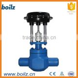 High temperature pneumatic auxiliary steam pressure control vale with adjust air cylinder